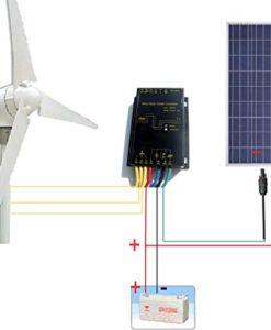 ECO-WORTHY-12-Volt-500W-500-Watt-Wind-Solar-Power-System-1pc-12V24V-400-Watt-Wind-Turbine-Generator-1pc-12V-100-Watt-Polycrystalline-Solar-Panel-1-Pair-MC4-Connectors-with-12cm-Cable-0