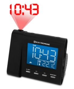 Electrohome-Projection-Alarm-Clock-with-AMFM-Radio-Battery-Backup-Auto-Time-Set-Dual-Alarm-Indoor-TemperatureDayDate-Display-35mm-Audio-Connection-for-Smartphones-Tablets-EAAC600-0