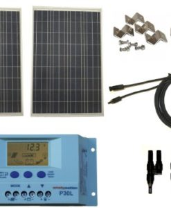 Windy-Nation-200-Watt-Solar-Panel-Complete-Off-Grid-RV-Boat-Kit-with-LCD-PWM-Charge-Controller-Solar-Cable-MC4-Connectors-Mounting-Brackets-0