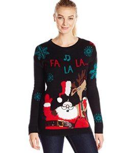 Allison-Brittney-Womens-Long-Sleeve-Santa-and-Reindeer-Ugly-Christmas-Sweater-0