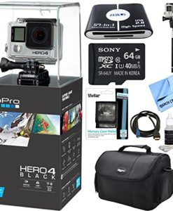 HERO-4-Black-4K-Action-Camera-Ultimate-Kit-Includes-GoPro-Hero-4-Black-64GB-Class-10-Micro-SDXC-R40-Memory-Card-Compact-Deluxe-Gadget-Bag-HDMI-to-Micro-HDMI-Cable-57-in-1-USB-Card-Reader-Telescopic-Se-0