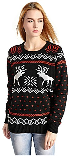 Hanson-Womens-Patterns-Of-Reindeer-Snowman-Christmas-Cardigan-0