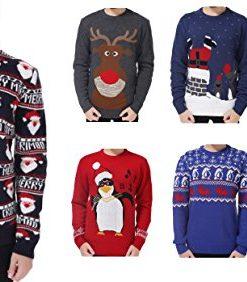 V28-Mens-Christmas-Reindeer-Snowman-Penguin-Santa-and-Snowflakes-Sweater-0