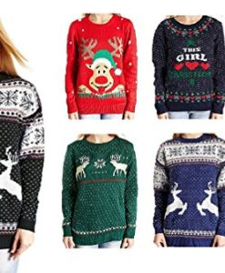 V28-Womens-Christmas-Reindeer-Snowflakes-Sweater-Pullover-0