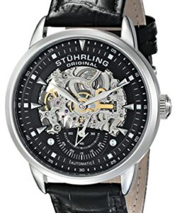 Stuhrling-Original-Mens-13333151-Executive-Automatic-Skeleton-Black-Genuine-Leather-Strap-Watch-0