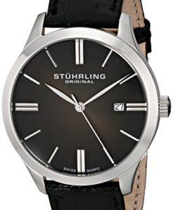 Stuhrling-Original-Mens-49033151-Classic-Cuvette-II-Swiss-Quartz-Date-Black-Genuine-Leather-Strap-Watch-0