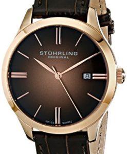 Stuhrling-Original-Mens-4903345K14-Classic-Cuvette-II-Swiss-Quartz-Date-16K-Rose-Gold-Plated-Brown-Genuine-Leather-Strap-Watch-0