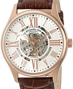 Stuhrling-Original-Mens-74704-Atrium-Automatic-Skeleton-Rose-Tone-Brown-Leather-Strap-Watch-0