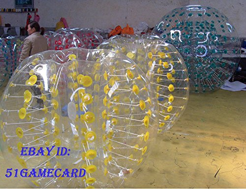 QJ Body Zorbing Ball Zorb Ball Bumper Ball Inflatable Ball Soccer Bubble PVC 1 5M ,colour:Yellow Dot