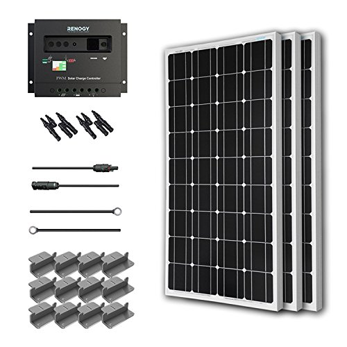 Solar Panel Starter Kit 300W Mono:3pc 100W Solar Panel UL Listed+20′ Solar cable+PWM 30A Charge Controller+3 sets Z Brackets+2 Pairs MC4 Branch Connectors
