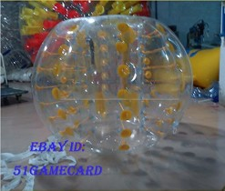 QJ New Yellow Dot Zorb Ball Bumper Ball Inflatable Ball Soccer Bubble PVC1 5M