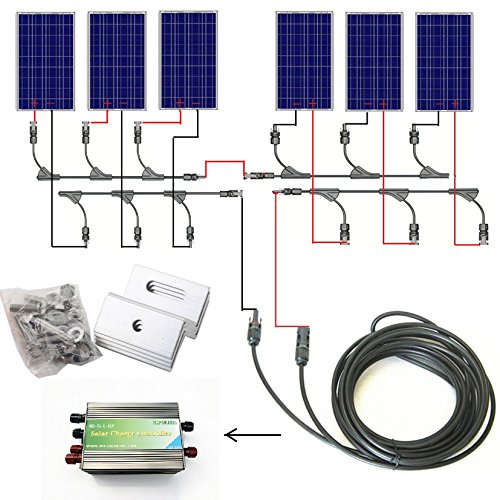 ECO-WORTHY 600w Watts Complete Solar Kit: 6pcs 100W Solar Panel+Solar Cable+30A PWM Charge Controller+MC4 Branch Connectors+Z Bracket Mounts