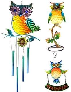 Bejeweled-Display-Beautiful-Multicolored-Owl-w-Stained-Glass-Wind-Chime-Tubes-candle-holders-Welcome-Sign-0