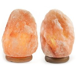 Crystal-Allies-Gallery-Pack-of-2-Natural-Himalayan-Salt-Lamp-on-Wood-Base-with-Cord-Light-Bulb-Authentic-Crystal-Allies-Info-Card-0