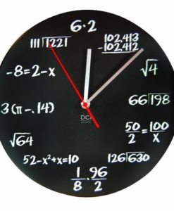 DCI-Matte-Black-Powder-Coated-Metal-Mathematics-Blackboard-Pop-Quiz-Clock-11-12-Diameter-0