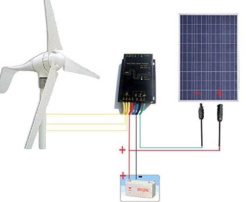ECO-WORTHY-12-Volt-500W-500-Watt-Wind-Solar-Power-System-1pc-12V24V-400-Watt-Wind-Turbine-Generator-1pc-12V-100-Watt-Polycrystalline-Solar-Panel-1-Pair-MC4-Connectors-with-12cm-Cable-0