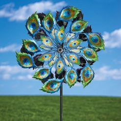Magnificent-Peacock-Solar-Wind-Spinner-Solar-Multi-color-Kinetic-Windspinner-solar-Powered-Glass-Ball-Emits-Color-changing-Light-Unique-Outdoor-Lawn-and-Garden-Dcor-0