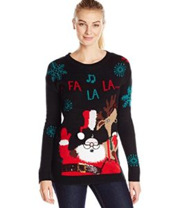 Allison-Brittney-Womens-Long-Sleeve-Santa-and-Reindeer-Ugly-Christmas-Sweater-0