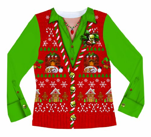 Faux-Real-Womens-Ugly-Xmas-Sweater-Vest-Long-Sleeve-T-Shirt-0