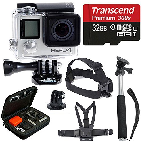 GoPro-HERO4-SILVER-Edition-Camera-HD-Camcorder-With-Deluxe-Carrying-Case-Head-Strap-Chest-Strap-Monopod-32GB-SDHC-MicroSD-Memory-Card-Complete-Deluxe-Accessory-Bundle-0