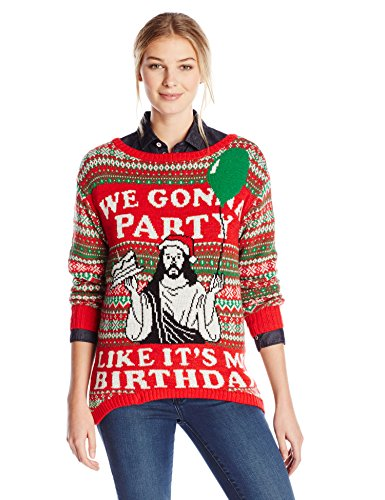 Isabellas-Closet-Womens-Were-Gonna-Party-Like-Its-My-Birthday-Holiday-Sweater-0