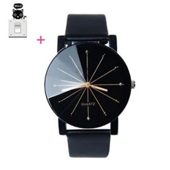 Bessky-Luxury-Mens-Black-Round-Dial-Clock-Leather-Strap-Quartz-Wrist-Watch-0
