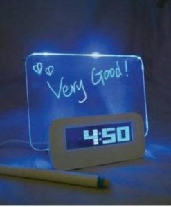 Fluorescent-Message-Board-Blue-LED-Digital-Alarm-Clock-4-Port-USB-Hub-Calendar-0