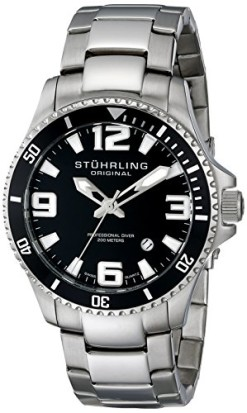 Stuhrling-Original-Mens-39533B11-Aquadiver-Regatta-Champion-Swiss-Quartz-Date-Stainless-Steel-Link-Bracelet-Black-Dial-Dive-Watch-0
