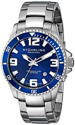 Stuhrling-Original-Mens-39533U16-Aquadiver-Regatta-Swiss-Quartz-Date-Stainless-Steel-Link-Bracelet-Blue-Dial-Dive-Watch-0