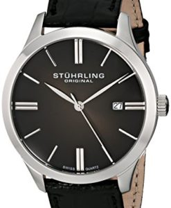 Stuhrling-Original-Mens-49033151-Classic-Cuvette-II-Swiss-Quartz-Date-Black-Genuine-Leather-Strap-Watch-0