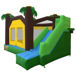 Cloud-9-Jungle-Jumper-Bounce-House-Inflatable-Bouncing-Jumper-with-Climbing-Wall-and-Slide-0