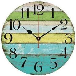 Grazing-12-Vintage-Blue-Green-Yellow-Colorful-Stripe-Design-Rustic-Country-Tuscan-Style-Wooden-Decorative-Round-Wall-Clock-Ocean-0