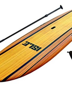 ISLE-108-Wood-Finish-Soft-Top-Stand-Up-Paddle-Board-Package-5-Thick-Includes-Adjustable-Paddle-Center-Carry-Handle-Center-Fin-and-Built-in-Non-Slip-Deck-Grip-The-Ultimate-SUP-for-Beginner-Intermediate-0