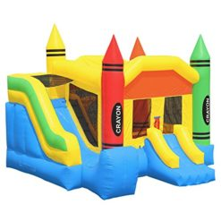 Inflatable-HQ-Commercial-Grade-Crayon-Castle-Bounce-House-with-Blower-and-Slide-0