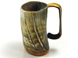 LARGE-Handcrafted-Ox-Horn-Tankard-Soldiers-Mead-Cup-Approx-1-12-Pints-Useable-0