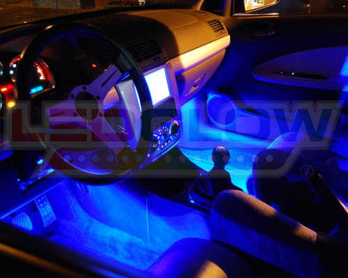 ledglow 4 piece single color led interior underdash lighting kit blue
