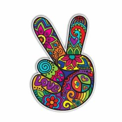 MeganJDesigns-Hippie-Peace-Sign-Hand-Sticker-Colorful-Flower-Car-Decal-Peace-Sign-Symbol-Vinyl-Bumper-Sticker-70s-Cute-Peace-Sign-Wall-Art-Love-Floral-0