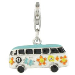 Quiges-Silver-Plated-Hippie-Bus-Clip-on-Charm-Lobster-Clasp-0