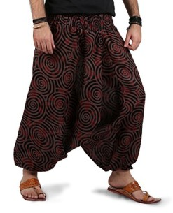 THS-Mens-Womens-Boho-Hippie-Baggy-Cotton-Harem-Pants-with-Pockets-Spiral-Design-0