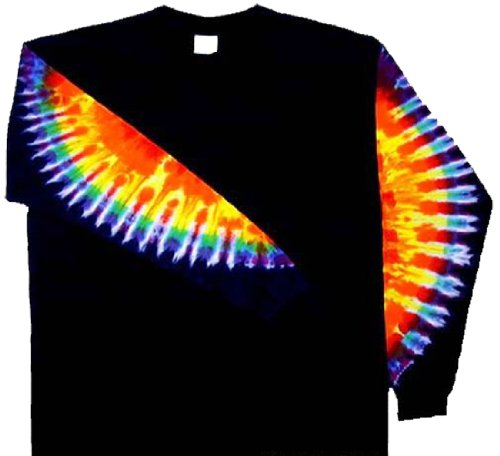 Tie-Dyed-Shop-Rainbow-Sleeves-on-Black-Tie-Dye-T-Shirt-Small-to-5X-0