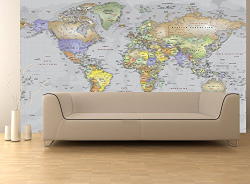World political map wall decal gray oceans peel stick 1 panel world political map wall decal gray oceans peel gumiabroncs Images