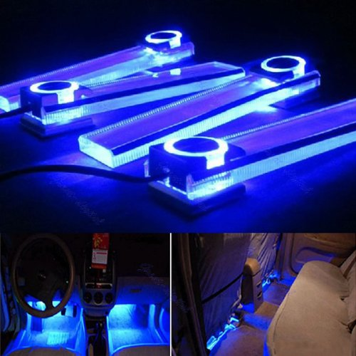 Zone Tech 4in1 12v Car Auto Interior Led Atmosphere Lights Floor Decoration Lamp Blue