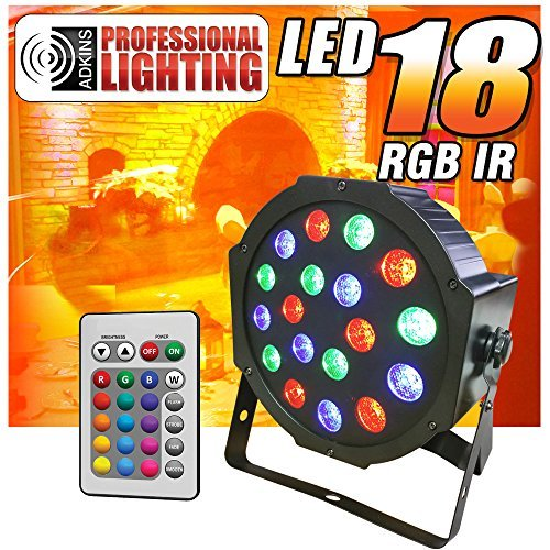 Full-RGB-Color-Mixing-LED-Flat-Par-Can-18-1-watt-LEDs-Red-Green-and-Blue-color-mixing-Wireless-Remote-Up-Lighting-Stage-Lighting-Dance-Floor-Lighting-Adkins-Professional-Lighting-0