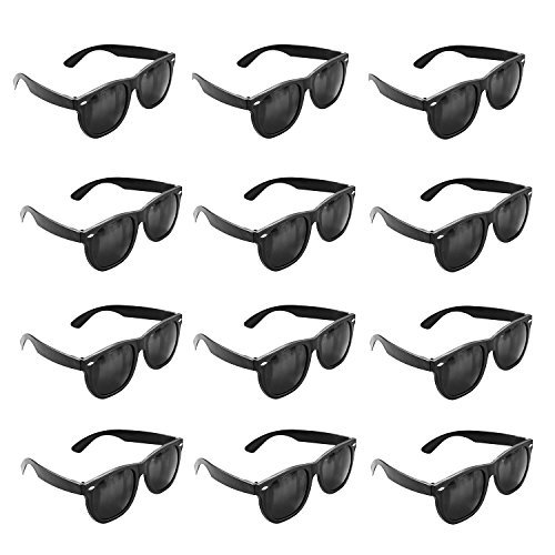 Plastic-Black-Vintage-Retro-Wayfarer-Style-Sunglasses-Shades-Eyewear-for-Party-Prop-Favors-Decorations-Toy-Gifts-12-Pairs-by-Super-Z-Outlet-0
