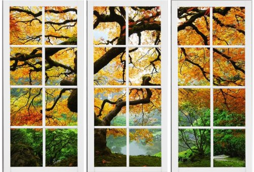 Startonight-Canvas-Wall-Art-Maple-At-Window-Windows-USA-Design-for-Home-Decor-Dual-View-Surprise-Wall-Art-Set-of-3-Total-472-X-7087-Inch-100-Original-Art-Painting-0