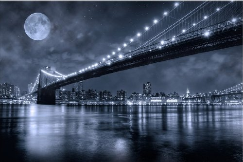 Startonight-Wall-Art-Canvas-Brooklyn-Bridge-New-York-USA-Design-for-Home-Decor-Dual-View-Surprise-Artwork-Modern-Framed-Ready-to-Hang-Wall-Art-2362-X-3543-Inch-100-Original-Art-Painting-0