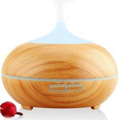 URPOWER-300ml-Aroma-Essential-Oil-DiffuserUrpower-Wood-Grain-Ultrasonic-Cool-Mist-Whisper-Quiet-Humidifier-with-Color-LED-Lights-Changing-4-Timer-Settings-Waterless-Auto-Shut-Off-0