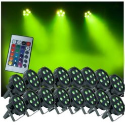 Up-Lighting-System-16-FlatPar-Quad-Color-7-x-10-watt-RGBW-Up-Lights-wEasy-Remote-Control-0